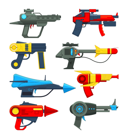 Fantastic space weapons in cartoon style