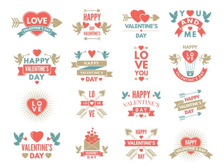 Labels and symbols of loves. St valentine day pictures for scrapbook design.