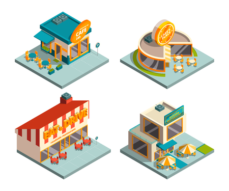 City cafe buildings. Isometric pictures illustration.