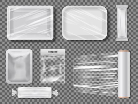 Pacchetti di alimenti trasparenti dall'illustrazione di politene.