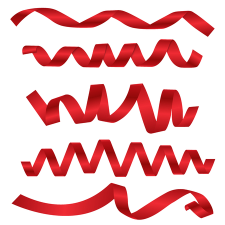 Dynamic shapes of red ribbons for different design projects Illustration