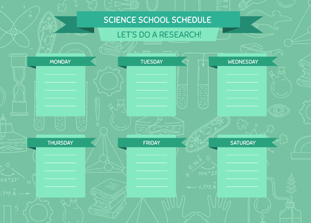 Vector school or work schedule template with sketched science or chemistry elements background and place for text illustration Vettoriali