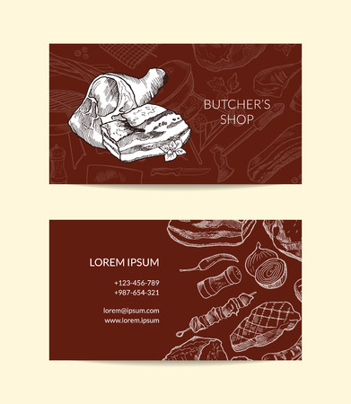 Vector business card template for butchers shop
