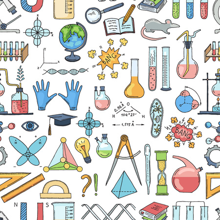 Vector sketched science or chemistry elements pattern or background