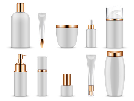 Vector realistic mockup for cosmetic containers for creams and tonic bottles