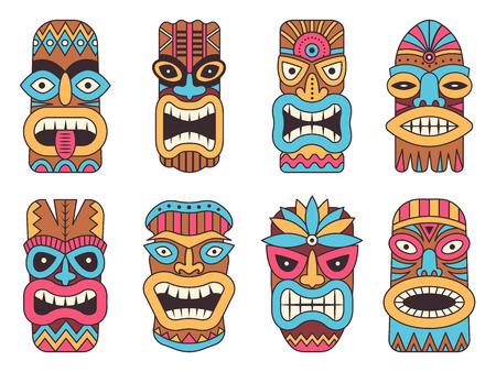 Ilustraciones del dios tiki hawaiano. Tótem tribal Foto de archivo - 97179742