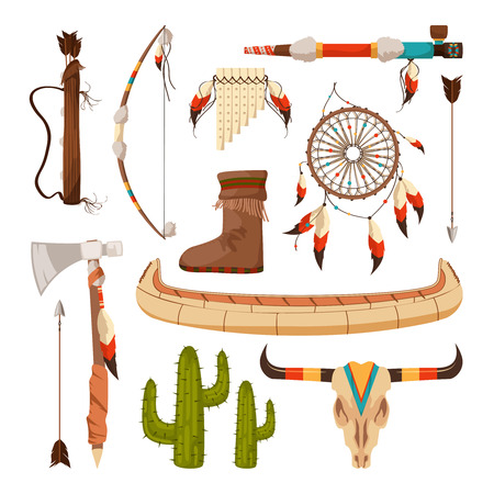 Ethnic and tribal elements and symbols of American Indians Illustration