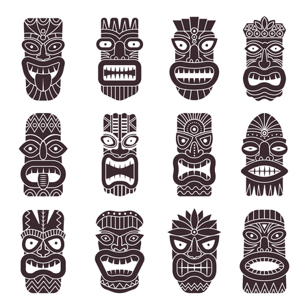 Monochrome vector illustrations set of tribal god tiki on white background.