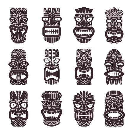 Monochrome vector illustrations set of tribal god tiki on white background.