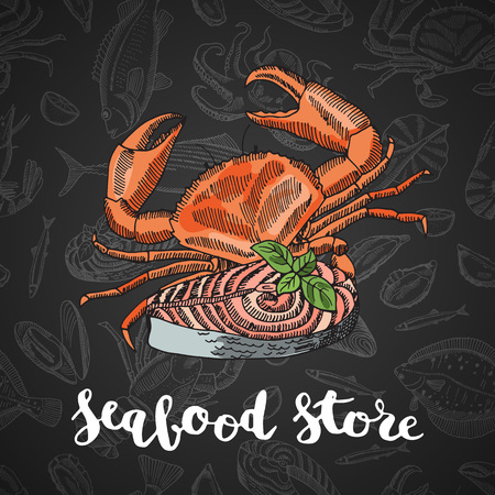 Vector hand drawn colored seafood elements composition on dark gradient background with lettering Vectores