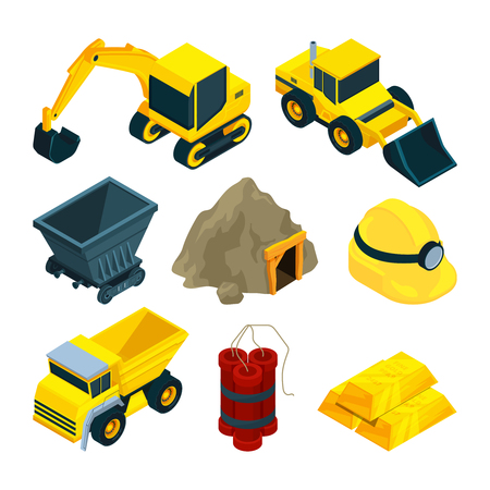 Mining minerals and gold Vector illustration.