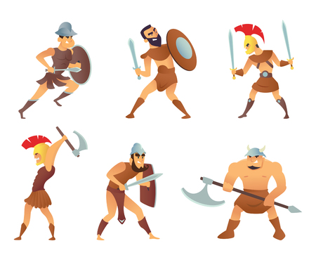 Rome knights or gladiators in different action poses Ilustrace
