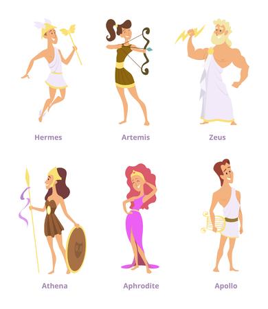 그리스 고대 신들. 만화 캐릭터 남녀 세트