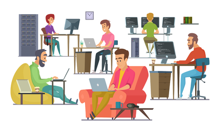 Coworkers at work. Male and female programmers and designers Vector illustration.