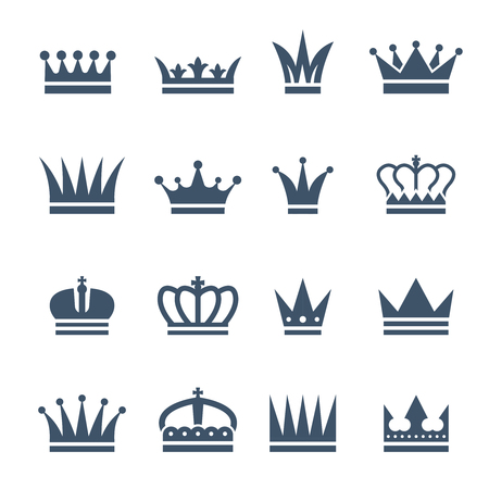 Set of monochrome crowns. Illustrations for luxury badges