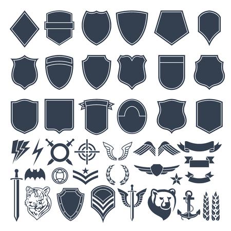 Conjunto de formas vacías para insignias militares. Ilustración monocromática del vector de los símbolos del ejército. Ilustración de vector