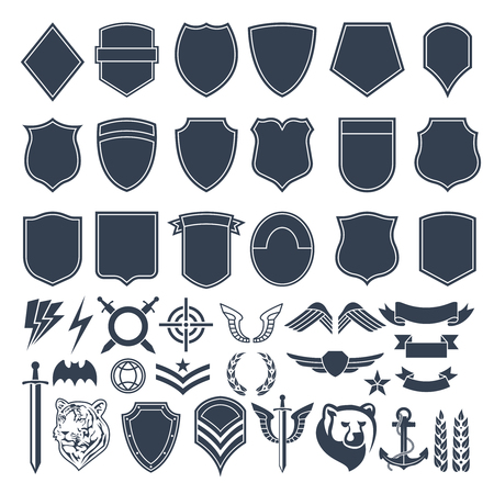 Set of empty shapes for military badges. Army monochrome symbols Vector illustration.