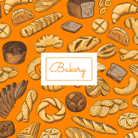 Vector hand drawn colored bakery elements background with place for text Ilustracja