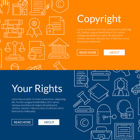 Vector linear style copyright web banner design Illustration