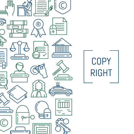 Vector linear style copyright elements illustration Vectores