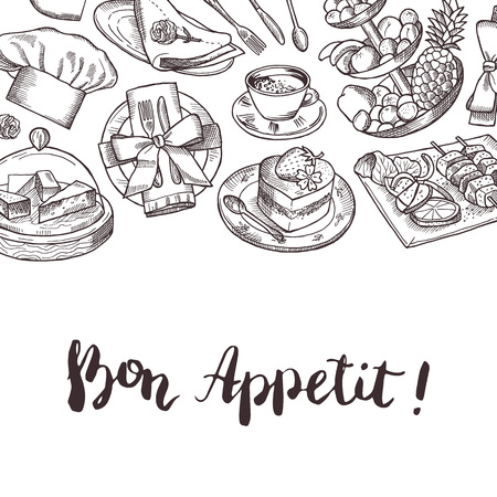 Vector hand drawn restaurant or room service elements