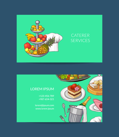 Vector business card template for restaurant or caterer