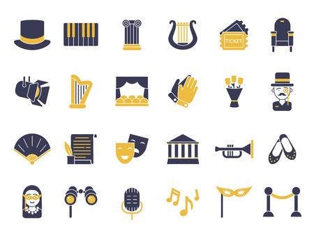 Monochrome icon set of theatre theme Ilustração