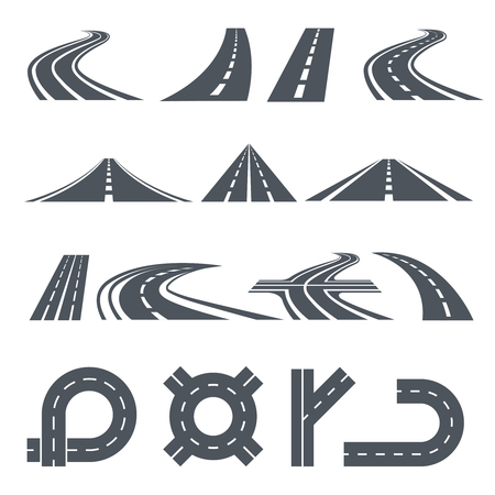 Isolated vector pictures of pathway, different roads and long highway Illustration