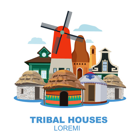 Traditional tribal houses from different peoples