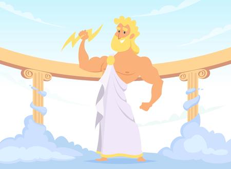 Zeus Grecki starożytny bóg piorunów i błyskawic Ilustracje wektorowe