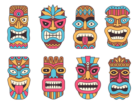 Hawaiian mask of tiki god. Wooden african sculpture