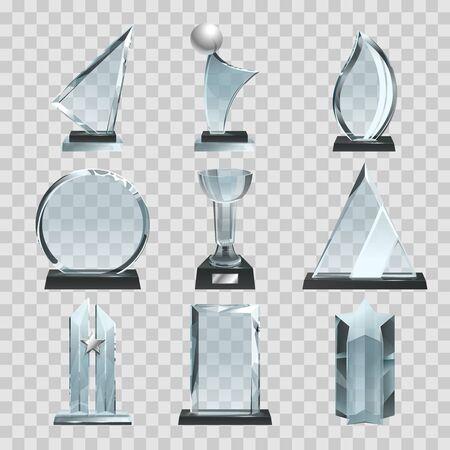 Błyszczące przezroczyste trofea, nagrody i puchary zwycięzców. Ilustracje wektorowe Ilustracje wektorowe