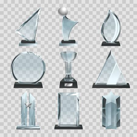 Glossy transparent trophies, awards and winner cups. Vector illustrations