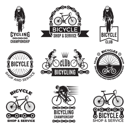 Labels set for bicycle club. Velo sport logos design