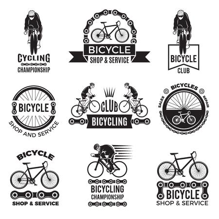 Set di etichette per club di biciclette. Progettazione di loghi sportivi Velo