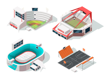 Stadiums exterior. Buildings in isometric style Vektorové ilustrace
