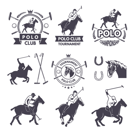 Labels set of sport competition for polo games 矢量图像