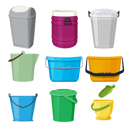 Different containers and buckets. Vector illustrations in cartoon style Vectores