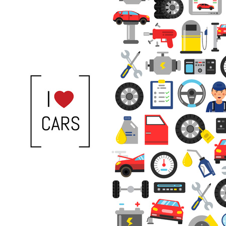 フラットスタイルのカーサービス要素とテキストの場所を持つベクトルの背景  イラスト・ベクター素材
