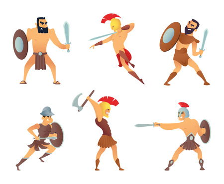 Gladiators holding swords. Fighting characters in action poses Vectores