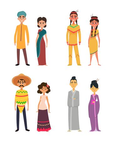Grupo internacional de pueblos masculinos y femeninos. Personajes de diferentes nacionalidades Ilustración vectorial. Ilustración de vector