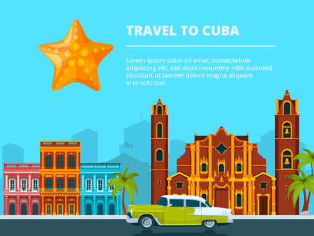 Urban landscape of cuba. Different historical symbols and landmarks