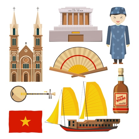 Different pictures of Vietnam symbols isolated on white background Vector illustration.