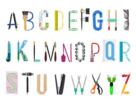 English alphabet from office supplies Vector illustration.