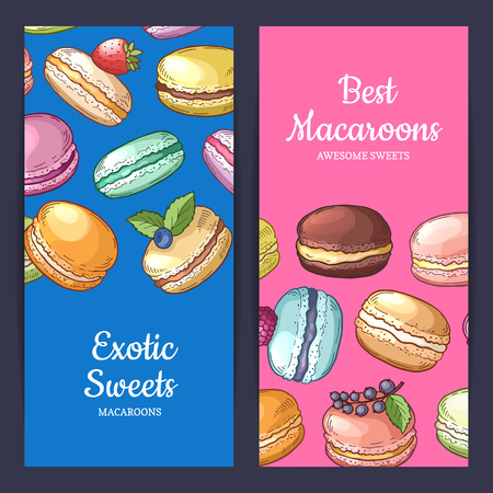 Vector flyer templates with place for text and colored hand drawn macaroons - exotic sweets and best macaroons