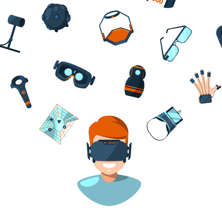 Vector concept illustration with flat style virtual reality elements set