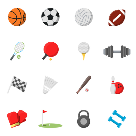 Sports icons set. Vector pictures in flat style Illustration