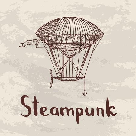 Vector steampunk hand drawn airships illustration. Illustration