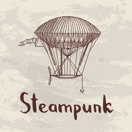 Vector steampunk hand drawn airships illustration. Иллюстрация