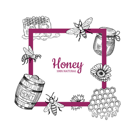 Vector frame with hand drawn honey elements flying around it and place for text illustration Ilustrace